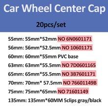 20 piezas 76mm 70mm 65mm 63mm 60mm 56mm 55mm llantas cubre coche tapas de cubo de rueda para Passat B6 B7 CC Golf MK5 MK6 Tiguan