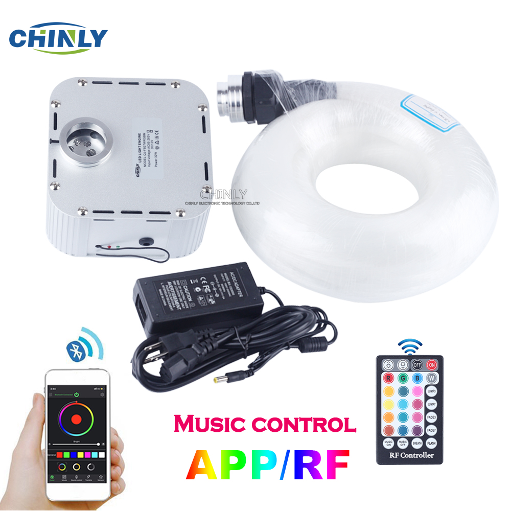 32W RGB 4-speed Twinkle LED Fiber Optic Star Ceiling Light APP Music RF Controller 835 Strands 5m(0.75mm+1.0mm+1.5mm) Cable