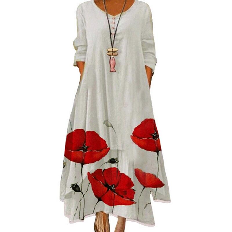 MOVOKAKA 2021 White Long Dress Women Floral Print Vintage Long Sleeve Elegant Dress Plus Size Vestido Women Casual Dresses Party 7