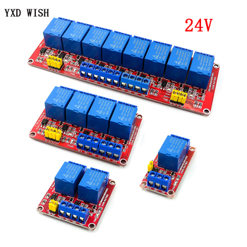 Релейный модуль 1, 2, 4, 8 каналов, постоянный ток, 24 В, С оптроном, Расширительная плата с высоким и низким уровнями, для arduino, плата реле 24 В