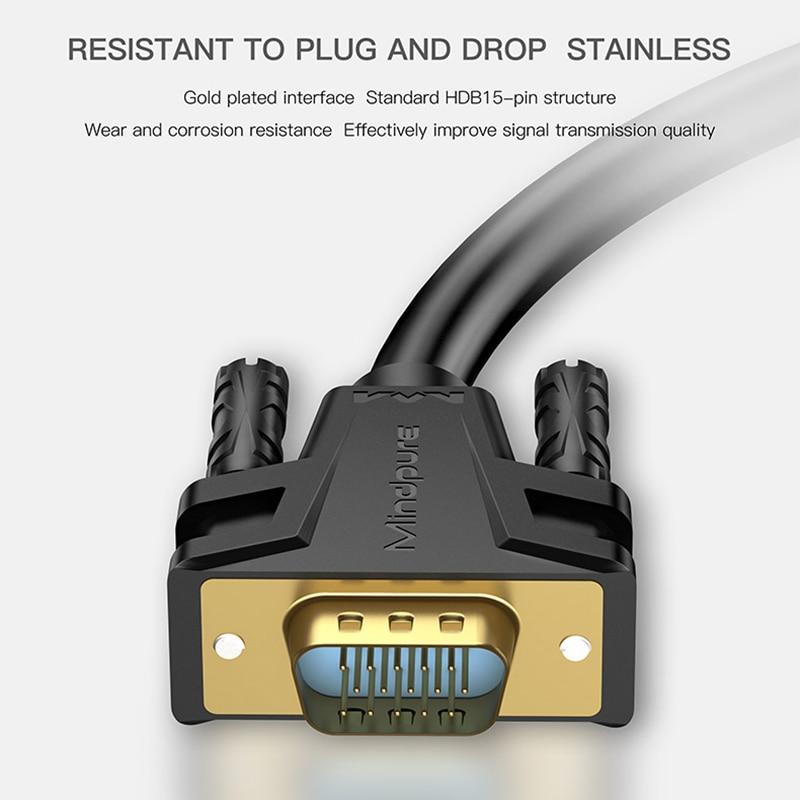 1080P VGA кабель Позолоченный разъем VGA к VGA кабель для компьютера проектор монитор экран 1,5 м 3 м 5 м 8 м 10 м 12 м 15 м 20 м