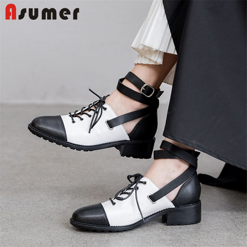 ASUMER 2020 Hot Sale Genuine Leather Shoes Women Pumps Mixed Color Casual Single Shoes Fashion Gladiator Shoes Woman Big Size 43