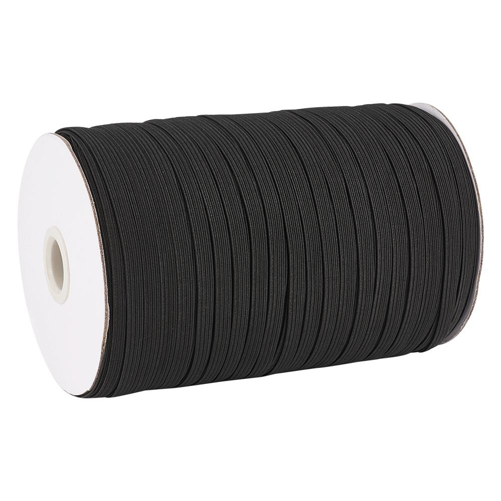 1 Roll Black Flat Elastic Cords Material For DIY Masks Accessories Rope String Sewing Stretch Thread 4/5/6/8/10/12/14mm In Stock