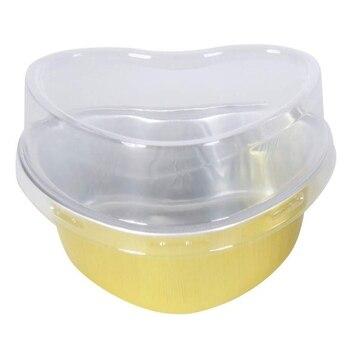 Einweg Aluminium Folie Backen Tasse Herz Geformt Kuchen Pfannen/Dessert Pfannen mit Deckel-Pack von 100 (Gold)