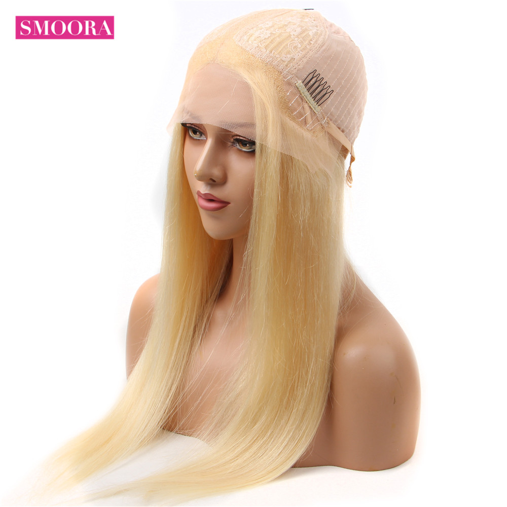 613 Honey Blonde Color   Straight 13*1 Middle Part Lace Front  Wig 8 - 28 Inch 150% Density Women's Wigs 3