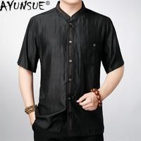 AYUNSUE 100% Silk Shirt Men Summer Black Shirts for Men Loose Vintage Clothes Plus Size Blouse High Quality Chemise Homme 8015