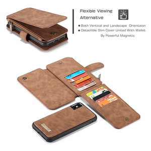 Image 5 - 14 כרטיס ארנק עור מקרה עבור iPhone 12 11 פרו מקס Xs X Xr רוכסן מגנטי מקרה עבור iPhone 8 7 6 בתוספת SE 2020 Flip טלפון מקרה