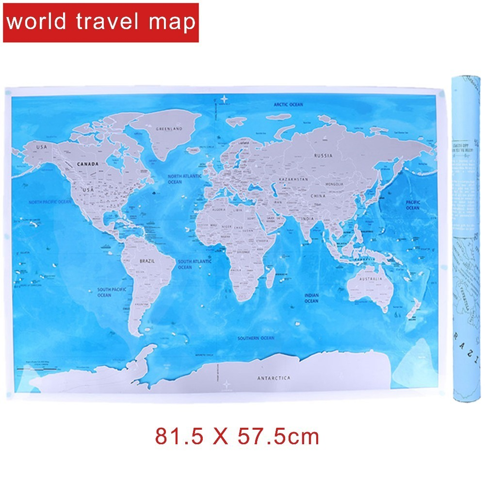 Deluxe Blue Ocean World Travel Map Scratch Off World Map Personalized Travel Scratch For Map Room Home Decoration Wall Stickers