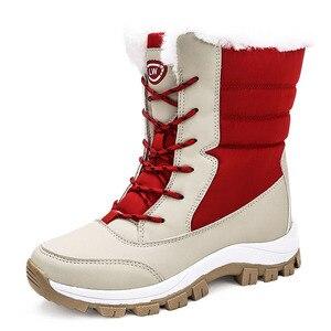Image 2 - WDZKN 2019 الشتاء أحذية دافئة النساء الثلوج سميكة أفخم منتصف العجل الأحذية المسطحة الإناث بوتاس موهير للماء الشتاء النساء الأحذية