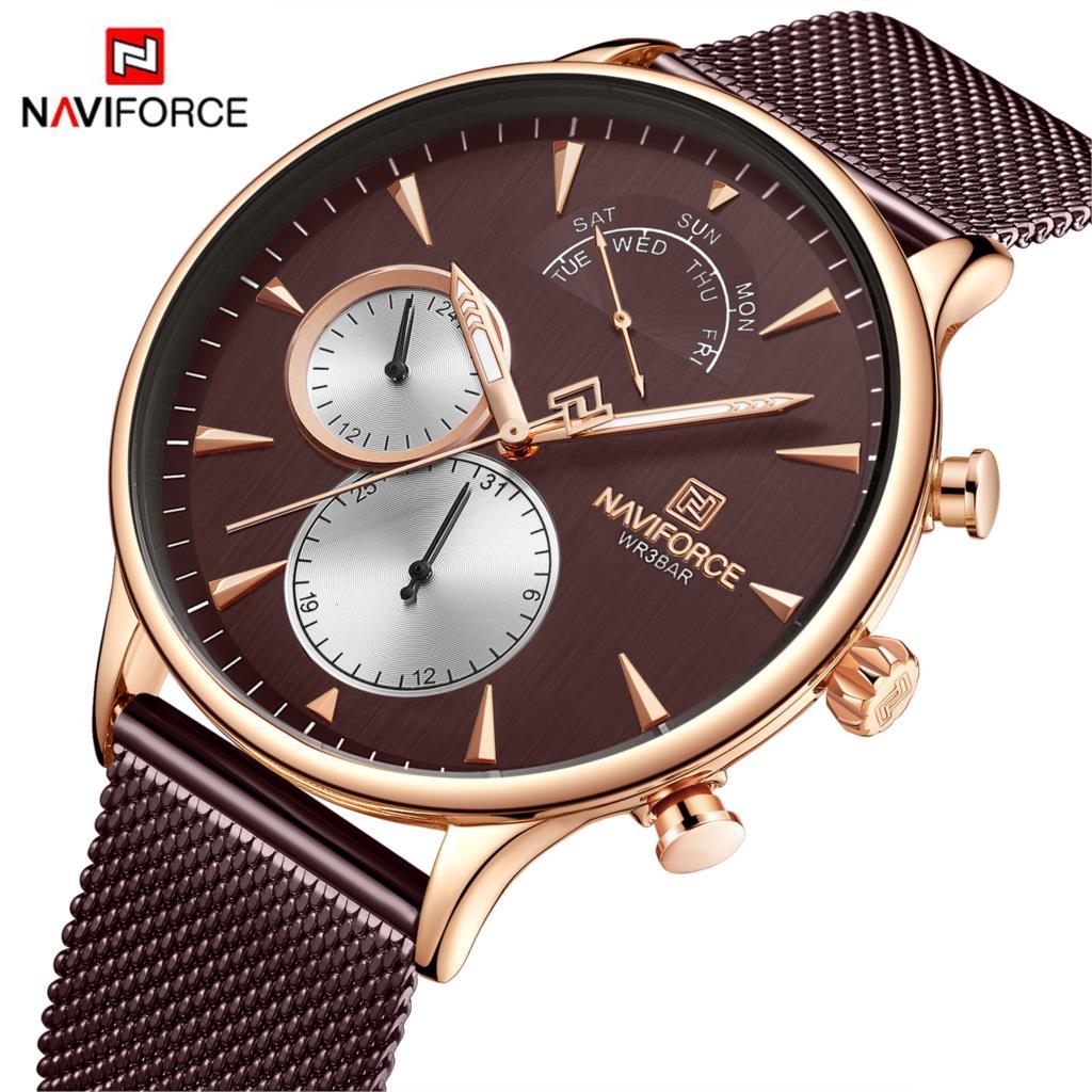 NAVIFORCE Watch Men Mens Watches Top Brand Luxury Watch Men Casual Mesh Steel 3ATM Waterproof Sport Watch Relogio Masculino 2019