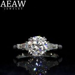 AEAW Double Claw1.0ct 6.5mm okrągły Cut 10k 14k białe złoto żółte złoto D Moissanite pierścień oryginalny olśniewająca damska biżuteria