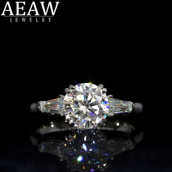 AEAW Double Claw1.0ct 6.5mm Round Cut 10k 14k White Gold Yellow Gold D Moissanite Ring Original Dazzling Female Jewelry image