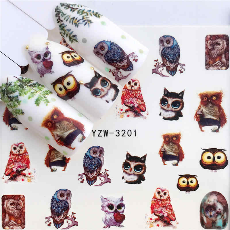 Yzwle 1 PC Stiker Kuku Air Decals Owl Bunga Cat Butterfly Kaktus Transfer Nail Art Dekorasi