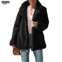 Jacket Long-Sleeve Women Plush-Coat Fashion-Color Winter Turn-Down Casual Solid Slim