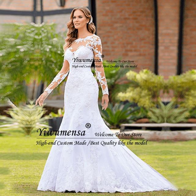 Romantic Mermaid Long Sleeves Wedding Dress Robe Mariage Femme Black Appliques Bride Dresses Africa Bridal Gowns Vestido Novias