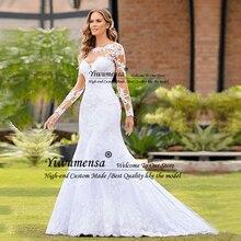 Romantik Mermaid uzun kollu düğün elbisesi Robe Mariage Femme siyah aplikler gelin elbiseler afrika gelinlikler Vestido Novias