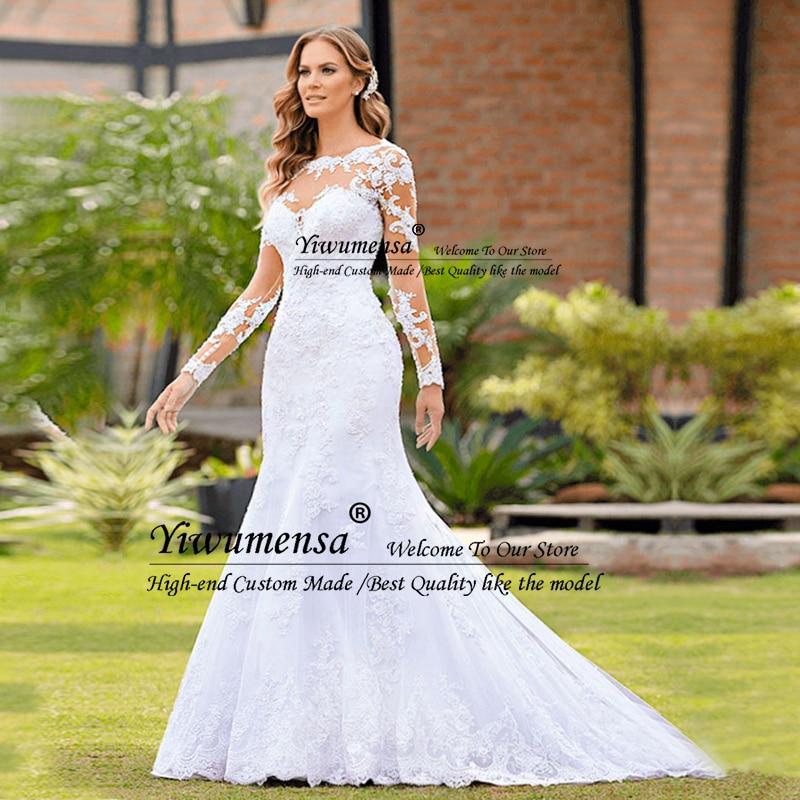 Romantische Mermaid Lange Mouwen Trouwjurk Robe Mariage Femme Black Applicaties Bruid Jurken Afrika Bruidsjurken Vestido Novias