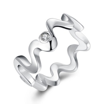 TR029 Irregular 925 Sterling Silver Zirconia Stone Ring  Simple for women Jewelry