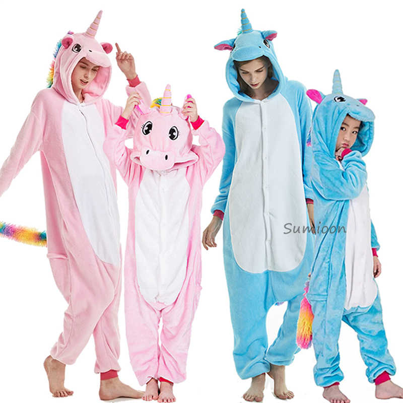 Dewasa Anime Kigurumi Onesie Wanita Pria Unicorn Piyama Anak Baju Tidur Musim Dingin Flanel Pijama Unicornio Overall Gadis Anak Laki-laki Baju Tidur