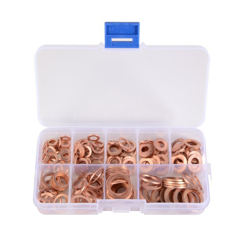 200 Pcs M5-M14 Copper Gasket Washer Gasket Nut and Bolt Set Flat Ring Seal Assortment Kit with Box O-ring Combination
