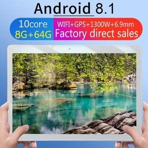 KT107 планшет с круглым отверстием 10,1 дюймов HD большой экран Android 8,10 версия модный портативный планшет 8G + 64G розовый планшет с европейской вилк...