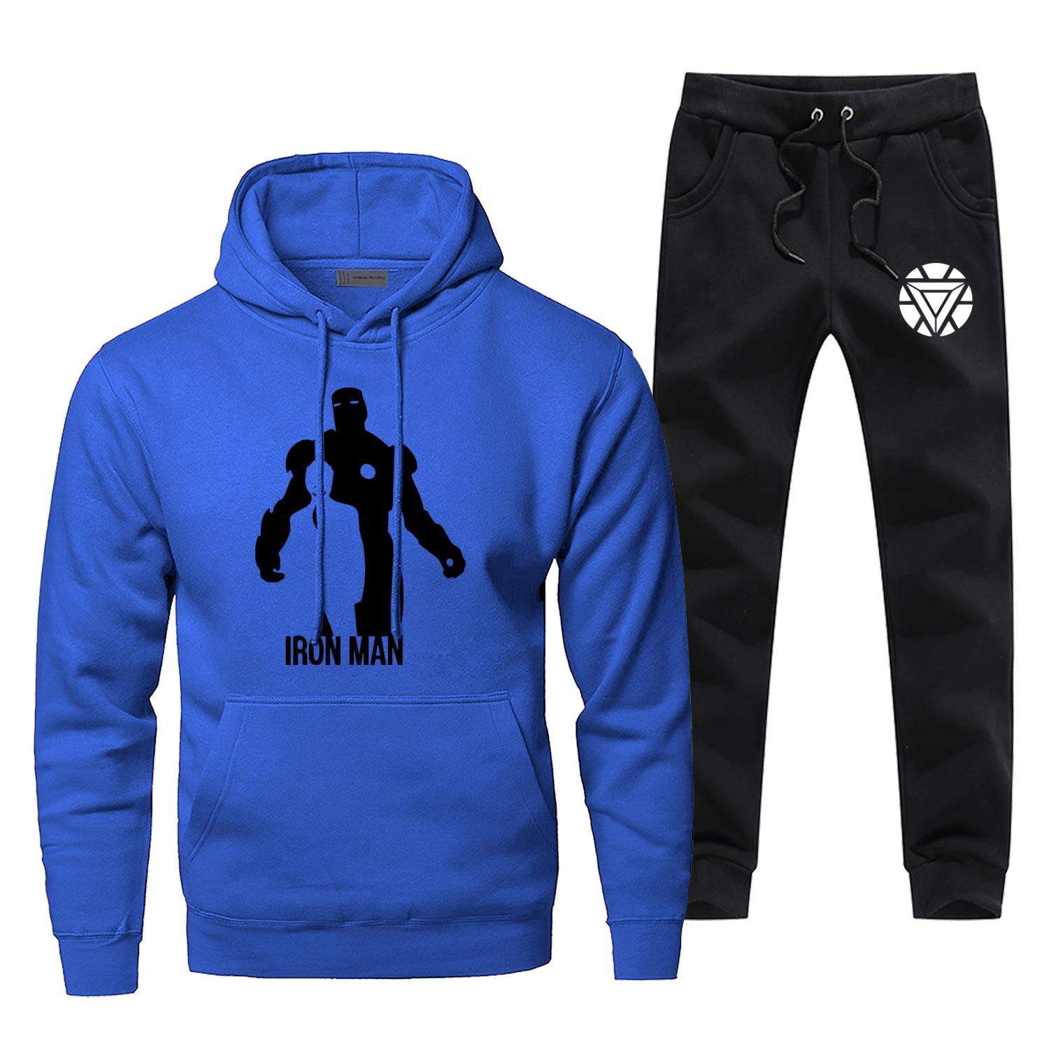 New Autumn Pants Sweatshiet Casual Iron Man Men's Sets Fashion Fleece Tony Stark Sportsman Wear Super Hero Bodywarmer Sweatpants