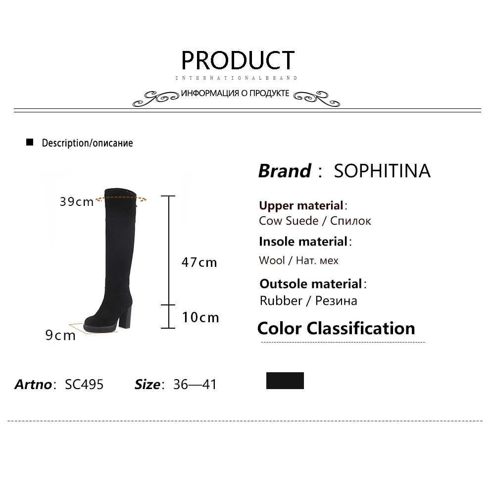 SOPHITINA özel tasarım çizmeler yüksek kaliteli inek süet yuvarlak ayak kare topuk moda rahat ayakkabılar yeni kadın botları SC495