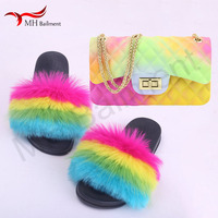 Summer new faux fox fur slipper fashion comfortable wild slippers artificial raccoon fur beach shoes women faux fur slides W#28
