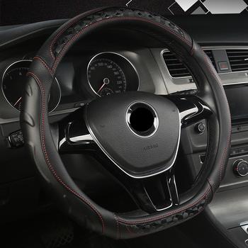 Nowy D kształt kierownicy obudowa do VW Golf 7 Polo 2014-2019 Scirocco Jetta 6 2017-2019 Santana 2016-2018 Auto Accesorioss tanie i dobre opinie DERMAY CN (pochodzenie) Skóra z mikrowłókien Kierownice i piasty kierownicy 0 7kg Non-slip Durable 38cm DM09151916
