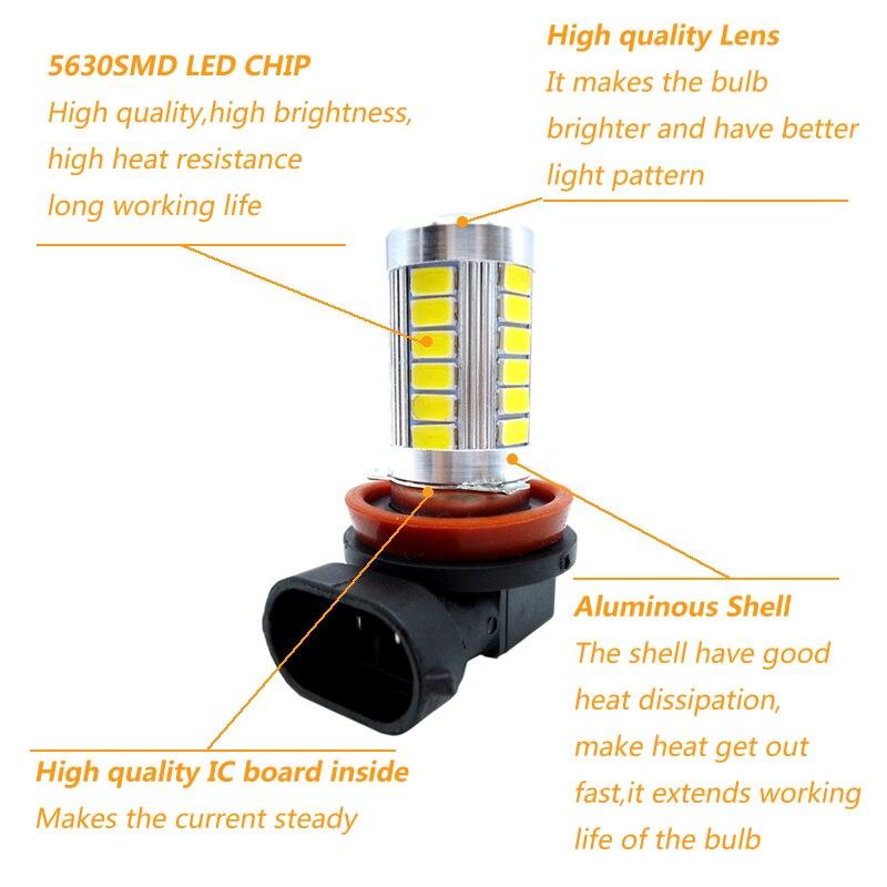 2x H8 H11 H7 9005 HB3 9006 White LED Fog Light Lamp bulb Daytime Driving Light LED Fog Lamp for cars Ice Blue 12V in Car Fog Lamp from Automobiles Motorcycles