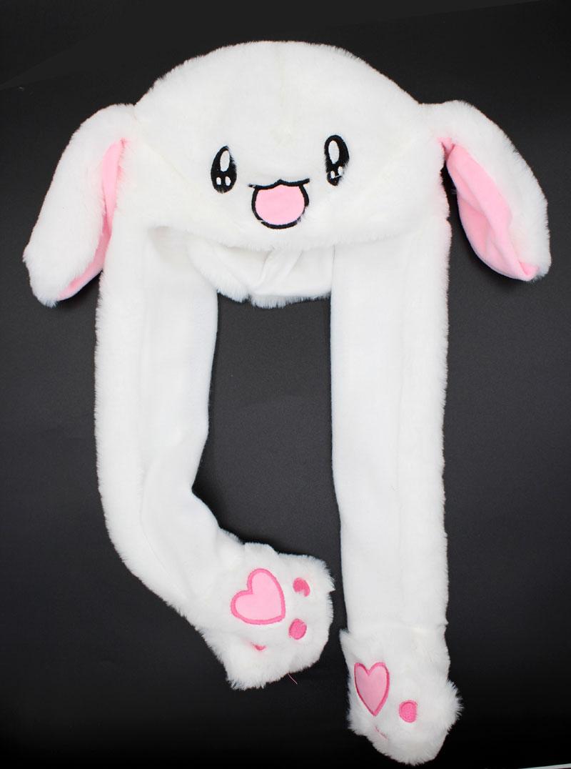Kocozo, шапка кролика, подвижные уши, милая мультяшная игрушка, шапка, подушка безопасности, Kawaii, забавная шапка-игрушка, Детская плюшевая игрушка, подарок на день рождения, шапка для девочек - Цвет: White Rabbit