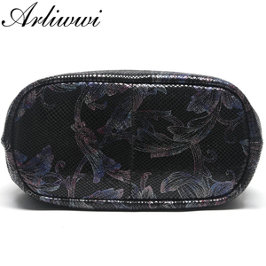 Image 4 - Arliwwi Brand 100% Real Leather Shiny Flower Female Handbags Pewter Chain Genuine Suede Cow leather Embossed Bags GY15