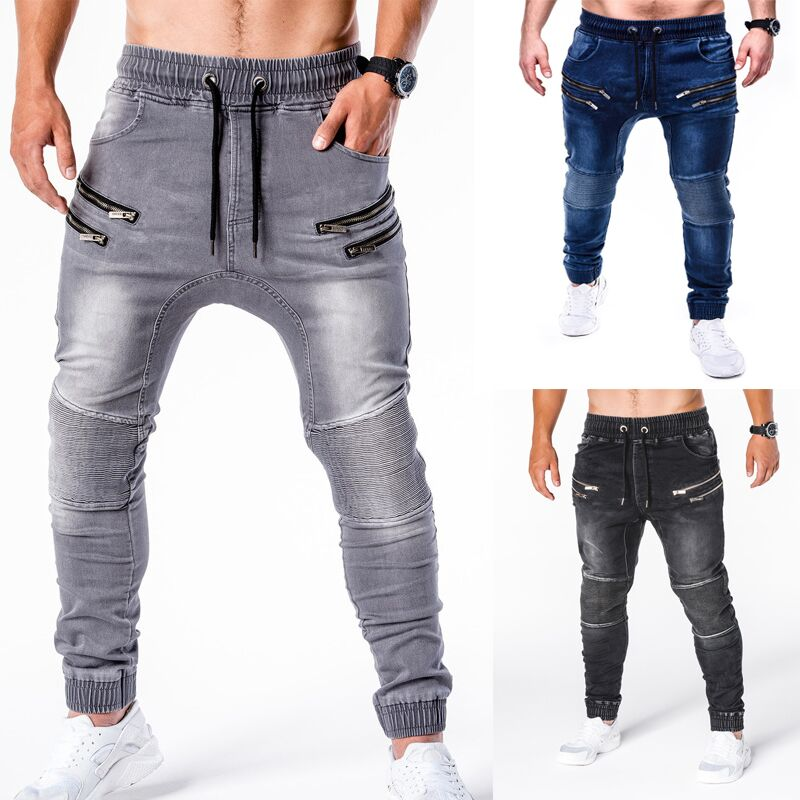 2020 New Jeans pants men's jeans casual running zipper stylish slim jeans pants hombr joggers masculino jean