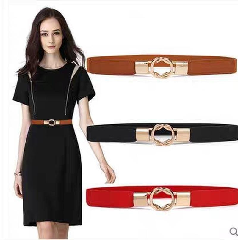 1Pcs Fashion Women's Belts PU Black White Waist Band Thin Elastic Waist Belt Dress Apparel Accessories