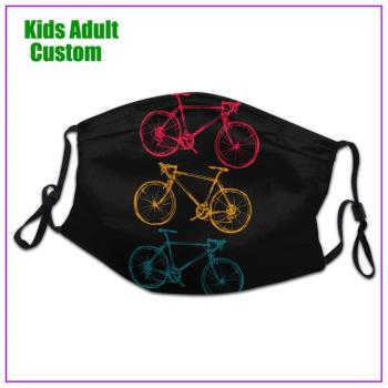 kids Men Women Three Bicycles Doodles Drawing face mask reusable shield virus protection washable cloth custom designs sports
