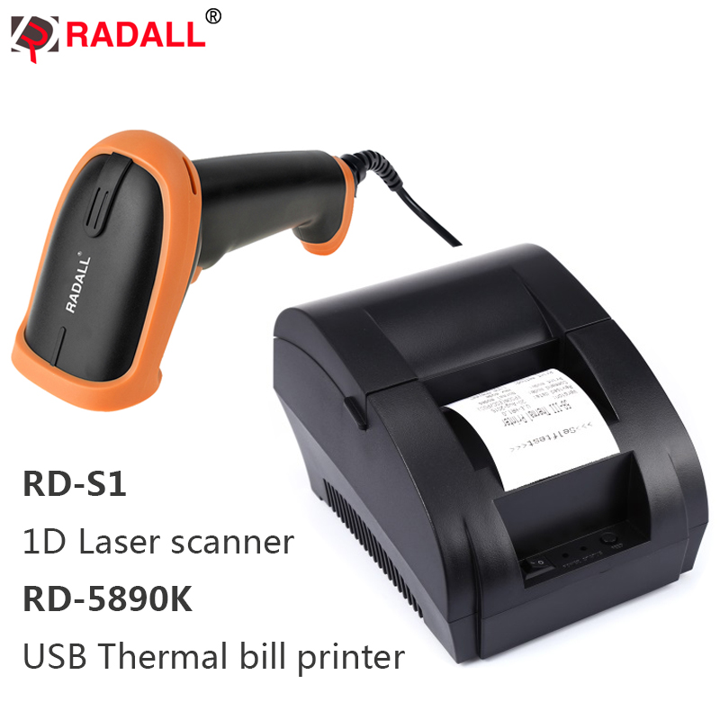 RD-5890K 58mm USB Thermal Printer High Speed Printing Compatible ESC/POS Print Commands Set RD-S1 1D Wired Laser Barcode Scanner