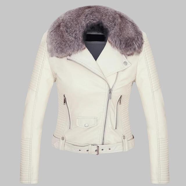 Winter Warm Faux Leather Jackets Moto Biker Women Coats Fur Collar Lady White Black Pink Motorcycle Biker Outerwear