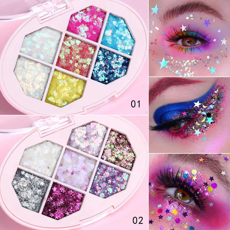 Profesional 7 Warna Glitter Eye Shadow Pallet Pigmen Mata Makeup Palet Tahan Air Membuat Eyeshadow Palet Maquillage