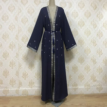 Muslim Abaya Dress Beading Kaftan Outwear Tunic Arab Jubah Dubai Islamic Clothing Open Abayas Long Robe Lace-up Hijab Dresses(China)