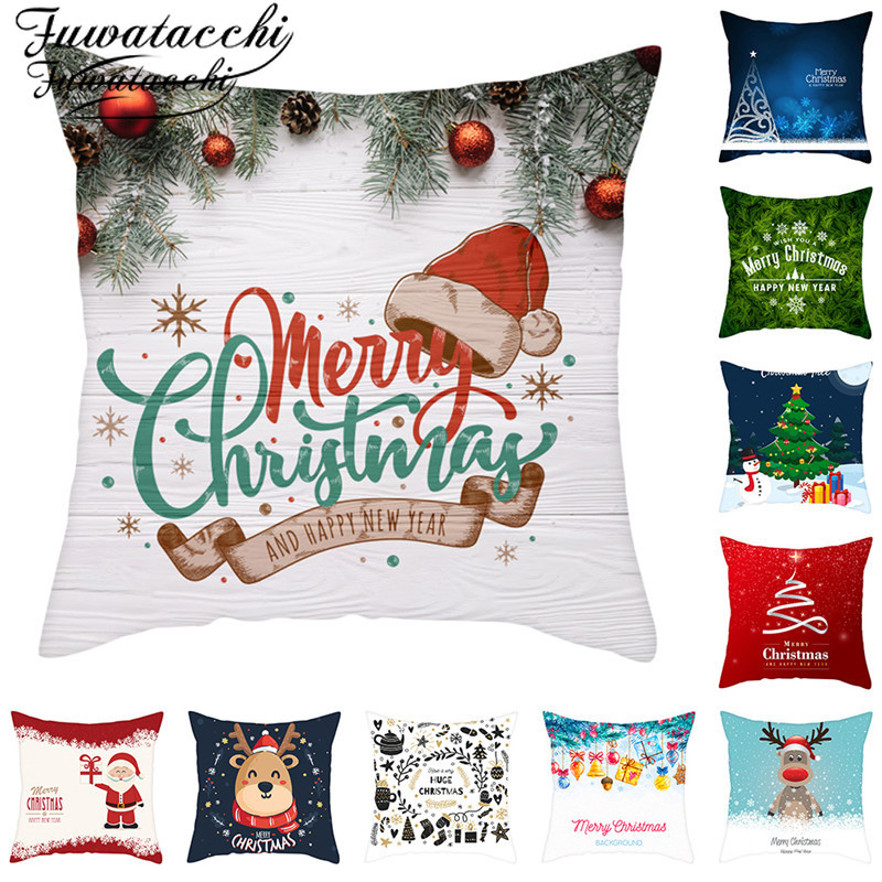 Fuwatacchi Christmas Day Gift Cushion Covers Square Santa Claus Pillow Cases Home Decorative Sofa Throw Pillows Covers 45x45cm