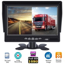 XYCING Update AHD Car Monitor for Cars SUVs Vans Pickups Trucks 7 Inch HD 1024x600 IPS Screen With 2 Channels and DC12V-36V