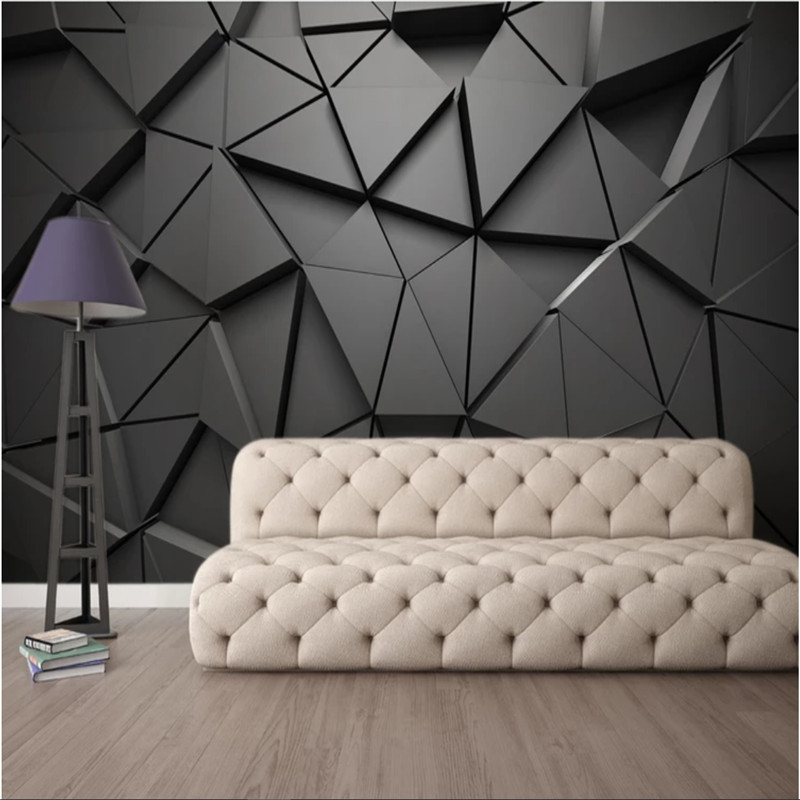 Modern Luxury 3D Stereoscopic Black Geometric Triangle Mural Wallpapers For Living Room Office Industrial Decor Wall Paper 3D