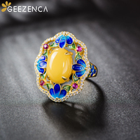 Vintage Luxury 925 Sterling Silver Amber Gold plated Ring Cloisonne Zircon Tourmaline Open Rings Fine Jewelry Women Party Gift