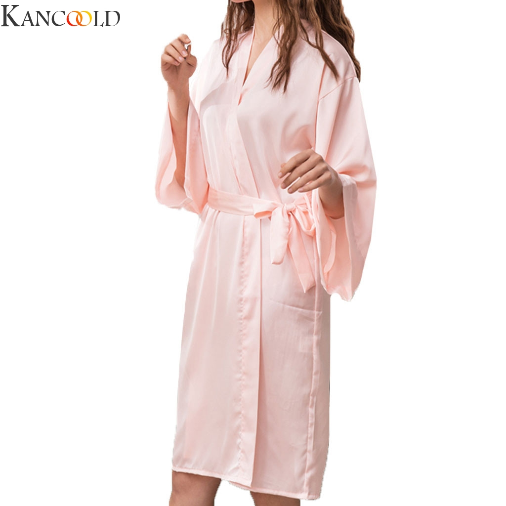 KANCOOLD Women Robe Gown Sets Sexy Lace Sleep Lounge Long Sleeve Ladies Nightwear Bathrobe Night Dress New Arrival