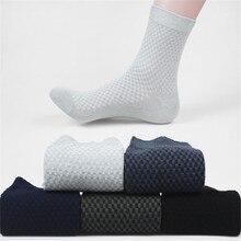Myored 10 pares/lote homens meias de bambu respirável antibacteriano listrado preto cor sólida homem de negócios meias sem caixa