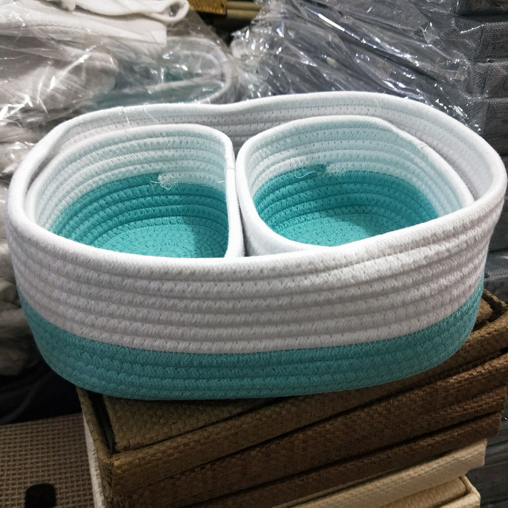 Storage-Basket Snacks Hand-Woven Cotton Desktop Home Debris
