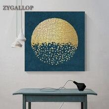 Nórdico abstrato arte da parede pintura em tela de ouro e azul quadros decorativos estilo mediterrâneo sala estar decoração