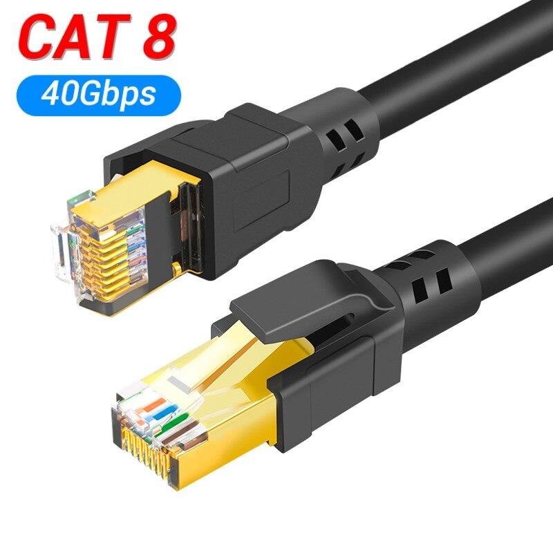 Lan de alta velocidade do remendo 25/40 gbps do cabo de rede 2000 mhz rj45 8p8c dos ethernet cat8 para o portátil 1m/2m/3m/5m/10m do roteador