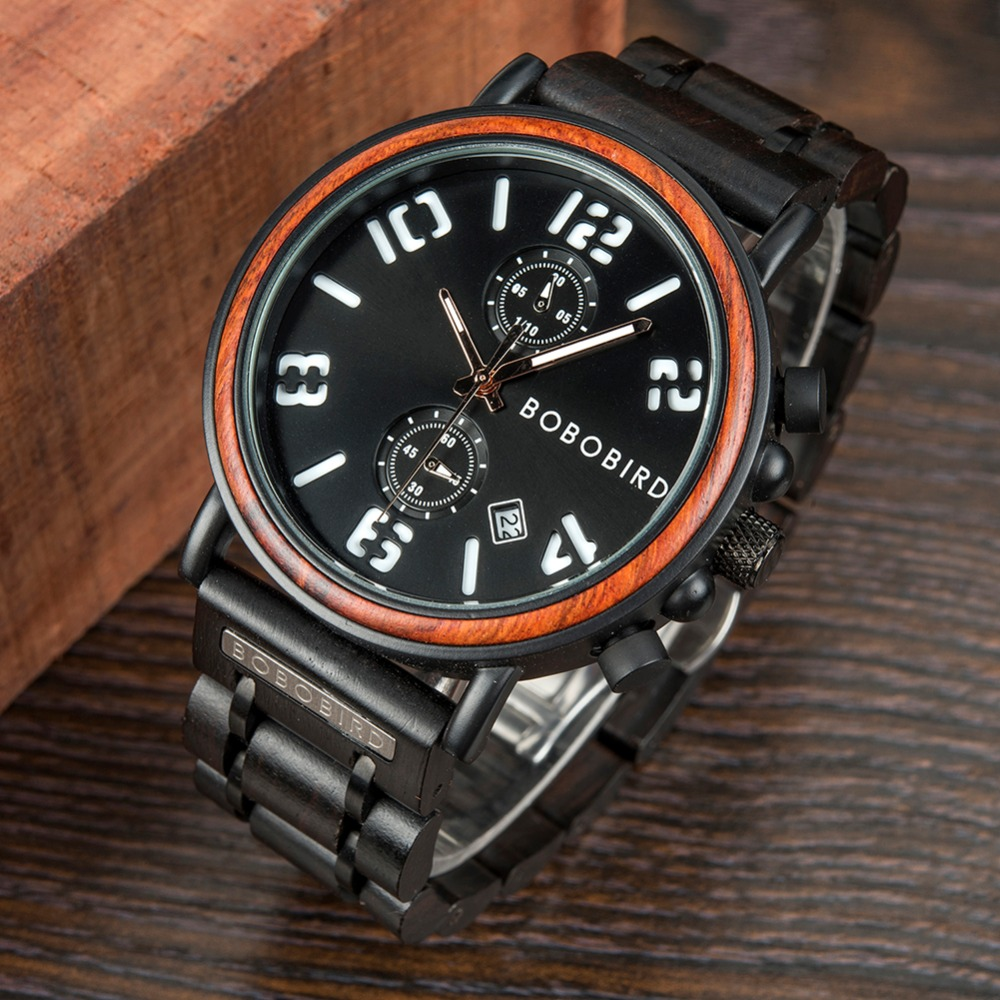BOBO BIRD Military Men Wooden Watches W-S26