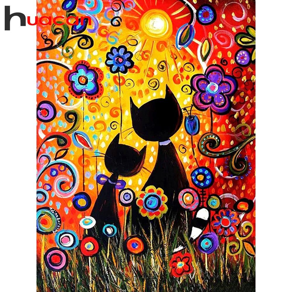 Huacan Kit de peinture au diamant | Peinture complète carrée et ronde, chat Animal 5d, décoration broderie diamant bricolage, décoration pour la maison